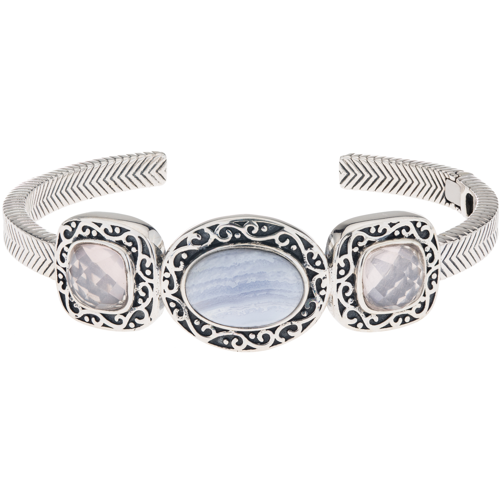 Primary image for Pangea Mines Rose Quartz & Blue Lace Agate Hinged Cuff Bracelet