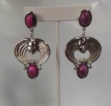 Signed JJ Large Drop/Dangle Face Pierced Earrings W/ Purple Swirl Stones - $22.76