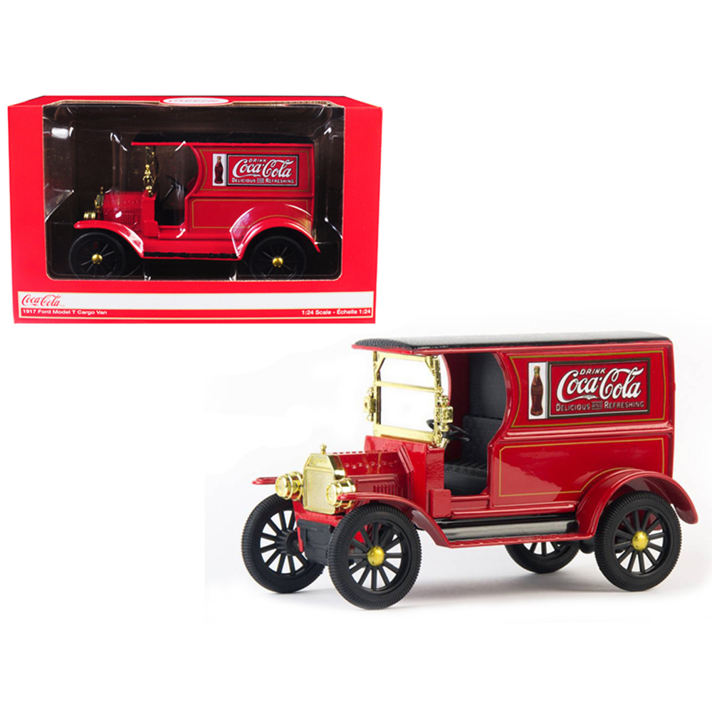 1917 Ford Model T Cargo Van Coca-Cola Red with Black Top 1/24 Diecast Model Car