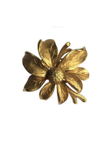 Vintage Textured Gold Tone Metal Blossom Flower Branch Brooch Pin - £17.64 GBP