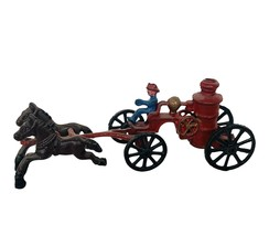 Cast Iron Toy Fire Truck Firemen Fireman Horse Ladders Carriage firetruck lead 2 - $290.20