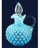 Fenton Hobnail Blue Opalescent Round Cruet Clear Glass Handle & Stopper - $32.00