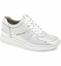 Michael Kors Women's Allie Wrap Trainer Lasered Metallic Sneakers Shoes Silver