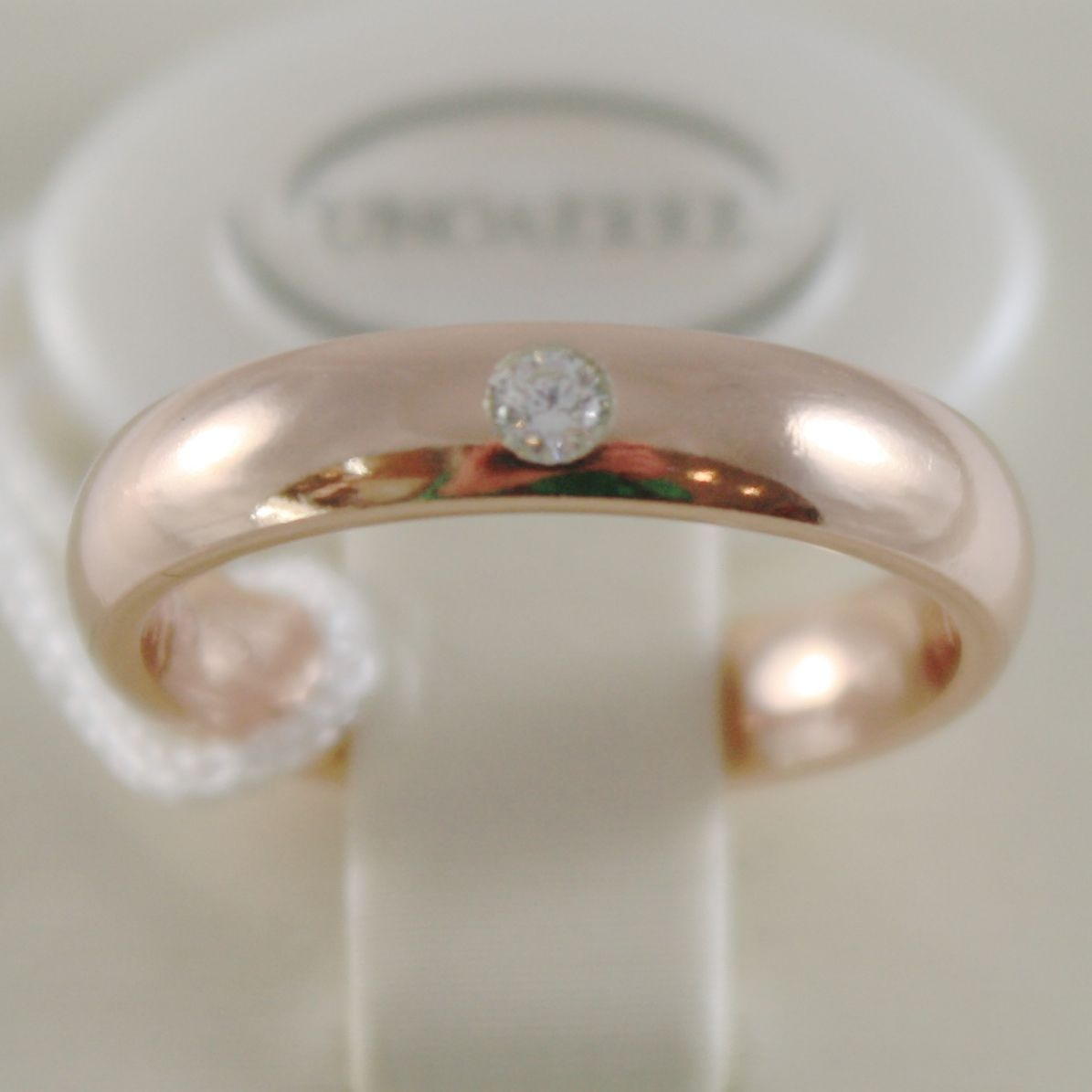 18K ROSE GOLD WEDDING BAND UNOAERRE COMFORT RING 4 MM, DIAMOND MADE IN ITALY