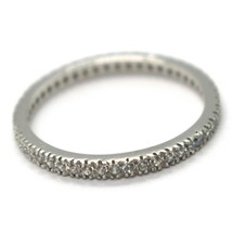 18K WHITE GOLD THIN ETERNITY BAND RING, WHITE CUBIC ZIRCONIA, THICKNESS 2 MM image 2