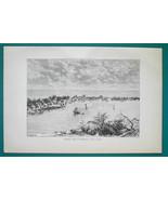 BAHAMAS Hopetown on Abaco Island - 1891 Antique Print Engraving - $20.25