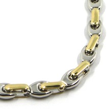 """18K WHITE YELLOW GOLD CHAIN NECKLACE ALTERNATE 5mm OVAL DROP & TUBE LINKS, 24"""" image 2"""