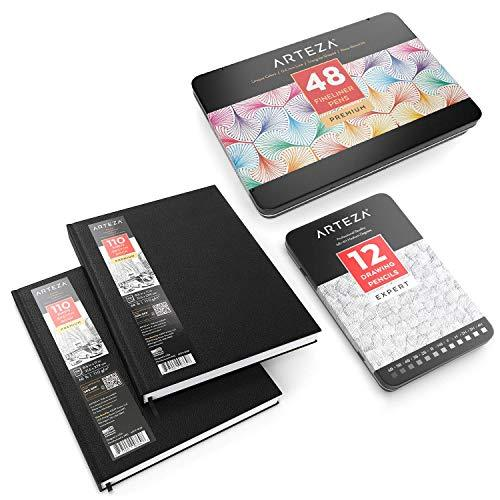 "ARTEZA Drawing Bundle, Hardcover Sketch Book 8.5x11"" Pack of 2, Fineliner Pens S"