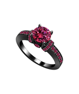 Pink Sapphire Womens Engagement Ring 14k Black Gold Finish 925 Sterling ... - £54.92 GBP