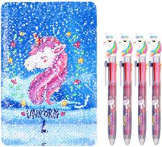 Unicorn Notebook Set, 4 Pieces Unicorn Multicolor Pens With Reversible S... - $16.82