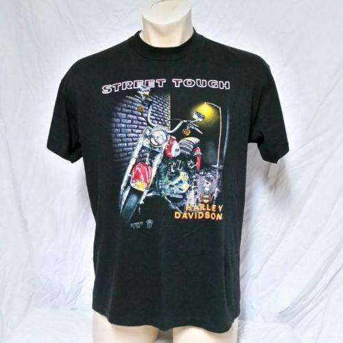 VTG 1989 Harley Davidson 3D Emblem Street Tough T Shirt 80s Tee Biker Trucker XL
