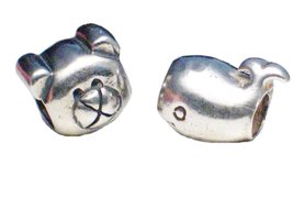 Teddy Bear Whale Charms Beads Sterling Silver 3D for European Pandora Style - $9.00