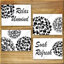 Black White Bathroom Wall Art Prints Pictures Floral Quote Unwind Relax ... - $13.99