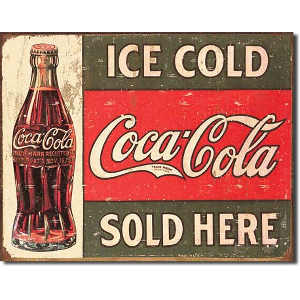 Coca Cola Coke Ice Cold Sold Here Advertising Vintage Retro Decor Metal Tin Sign
