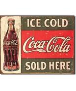 Coca Cola Coke Ice Cold Sold Here Advertising Vintage Retro Decor Metal ... - $14.95