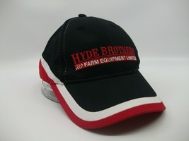 Hyde Brothers Farm Equipment Hat Red Black Hook Loop Baseball Cap - $15.19