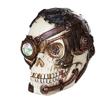 Steampunk Gearwork Skull with One Crystal Eye Collectible Figurine - £20.71 GBP