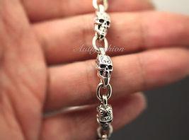 Mens Sterling Silver Bracelet Solid Skull Chain Hip Hop Biker Beach wear b12 image 4