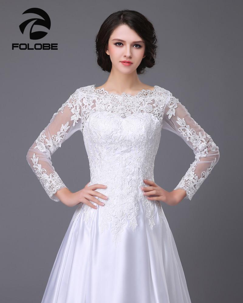 Satin and lace Long Sleeve A-Line Wedding Dress at Bling Brides Bouquet image 5