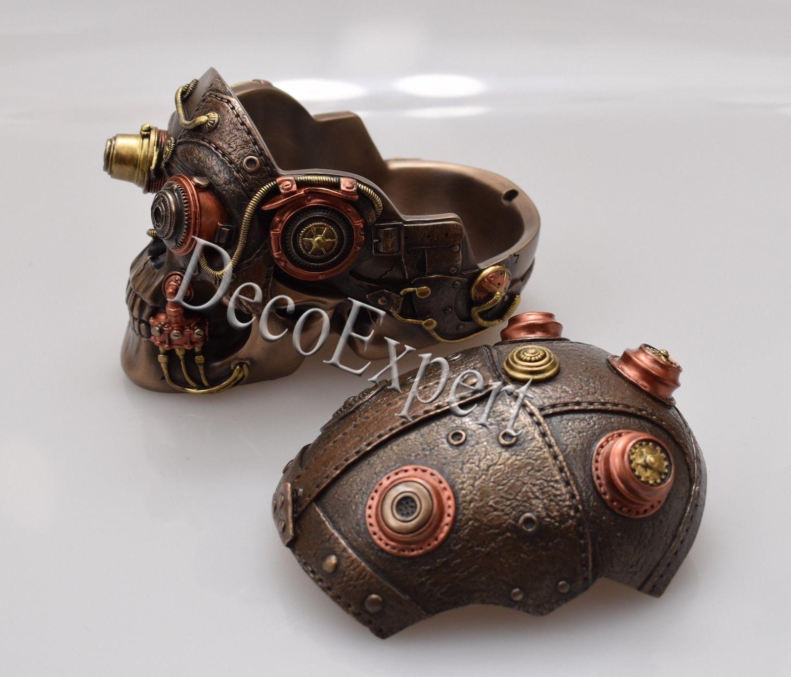 Steampunk Skull Trinket Jewelry Box Big Beautiful Bronze * Free Shipping