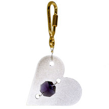 Aluminum and Crystal Heart Keyring image 2