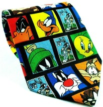 Looney Tunes Stamp Collection Bugs Daffy Marvin Tweety Taz Novelty Necktie - $17.82