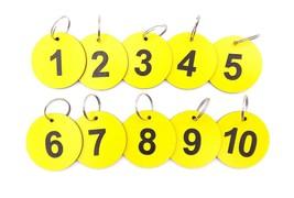 Circular Yellow, Key Rings, key Fobs, key Tags Numbered 1 to 10 Large Si... - $14.69