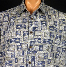 Cooke Street Hawaiian Shirt Mens L Picture Frames Tiki Huts Compasses Palms - $18.69