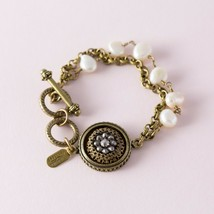 Grandmother's Buttons Signed Vintage Antiqued Gold Tone Pearl Beaded Bra... - $39.60
