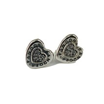 Authentic Pandora Sterling Silver Signature Heart Clear CZ Stud Earrings - $37.50