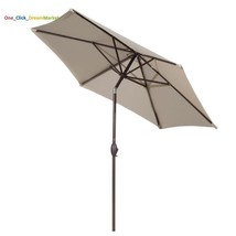 9' Sunbrella Fabric Aluminum Patio Umbrella Auto Tilt And Crank 8 Ribs B... - $72.73