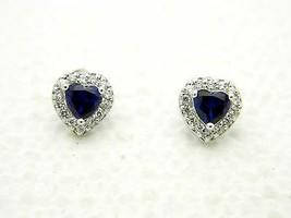 Estate Fresh .925 Sterling Silver CZ Clear Blue Rhinestone Heart Post Earrings - $24.75
