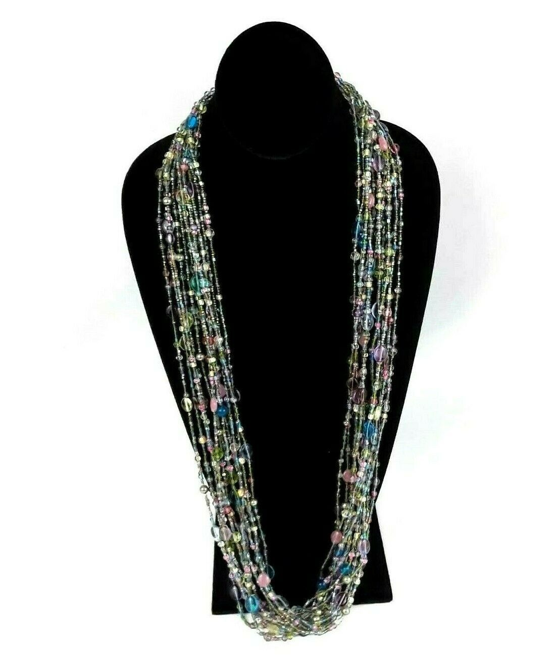 "JOAN RIVERS Blue Green Pink Multi Strand Torsade 40"" Beaded Necklace EUC image 6"