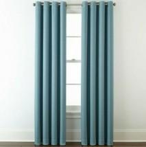 (1) JCPenney Liz Claiborne Quinn Basketweave STONE BLUE Grommet Curtain 50x84  - $68.59