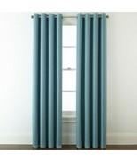 (1) JCPenney Liz Claiborne Quinn Basketweave STONE BLUE Grommet Curtain ... - $68.59