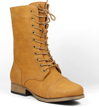 Whisky Brown Faux Leather Cap Toe Mid Calf Lace Up Military Combat Boots - $14.99