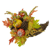 "16"" Autumn Harvest Pumpkin Maple Grapevine Cornucopia Decor - $103.95"