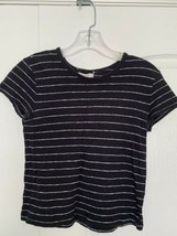 MADEWELL Black top with white pin stripe size XXS GUC - $9.89