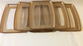 Set of 6 Vintage Acrylic Plastic Snack Serving Trays • Clear with Gold &... - $19.75