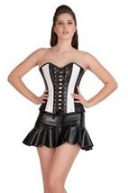Black & White Rice Leather Lace Design Gothic Overbust Tutu Skirt Corset Dress - $69.62