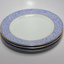 "1870s Royal Worcester Blue Chintz Flowers Gold Trim 3 Salad Plates 8"" - $60.78"