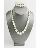 ESTATE VINTAGE Jewelry WHITE MOONGLOW PLASTIC SET CUFF BRACELET &  NECKL... - $35.00