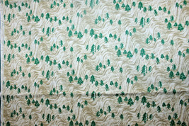 EVERGREEN TREES ON A BROWN WAVE - 100% COTTON FABRIC   - $7.91
