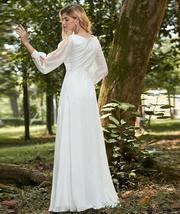 Elegant V Neck Long Sleeve Appliques Lace Chiffon Bridal Gown image 4