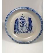 Primitive Eldreth Pottery Handmade Salt Glazed pie plate Christmas bakin... - $41.78