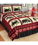 winston inc Bear Deer Pine Trees Moose Rustic Cabin Lodge Aztec Fleece C... - $28.42