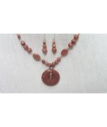 Sale! 30 Inch Starburst  Brown Goldstone Donut Pendant Necklace Set Hand... - $49.99