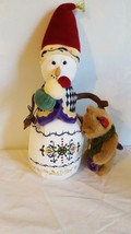 """Rare Plush 14"""" Boyds Embroidered Winter Snowman With Bear, Retired 2009, No Tags - $29.69"""