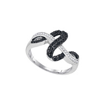 10kt White Gold Round Black Colored Diamond Double Strand Crossover Band... - £170.24 GBP
