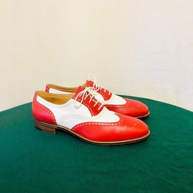 Handmade Men's Red and White Wing Tip Brogues Dress/Formal Oxford Leather Sh
